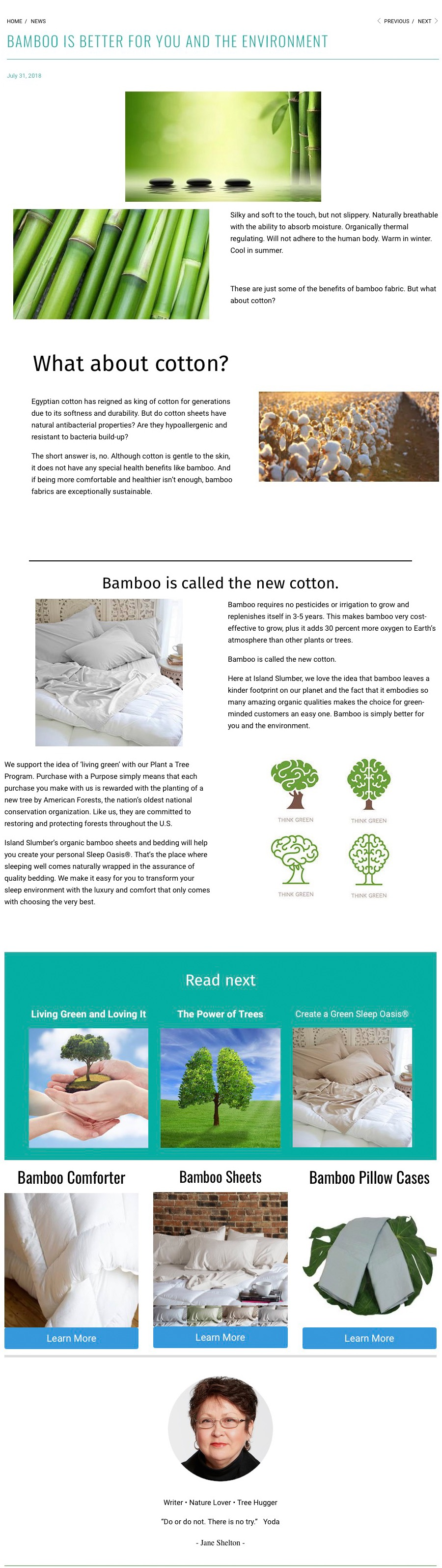 Screenshot of article from Island Slumber website on benefits of bamboo